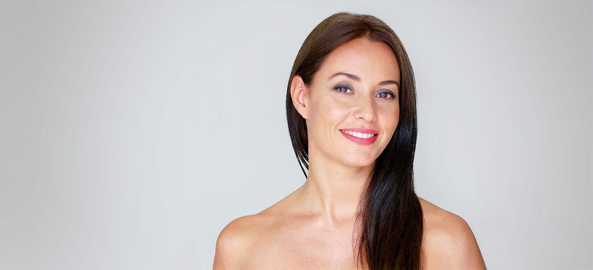 Female model on grey background