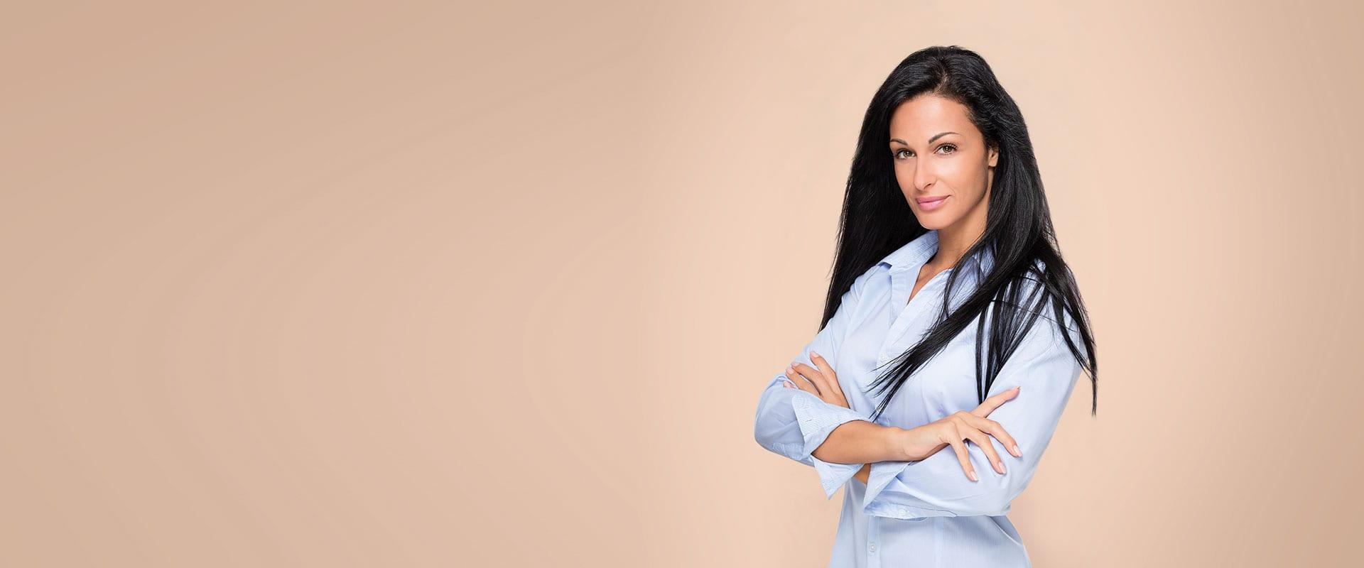 Female model on beige background