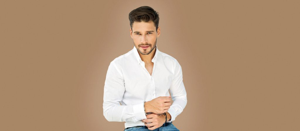 Male model on brown background