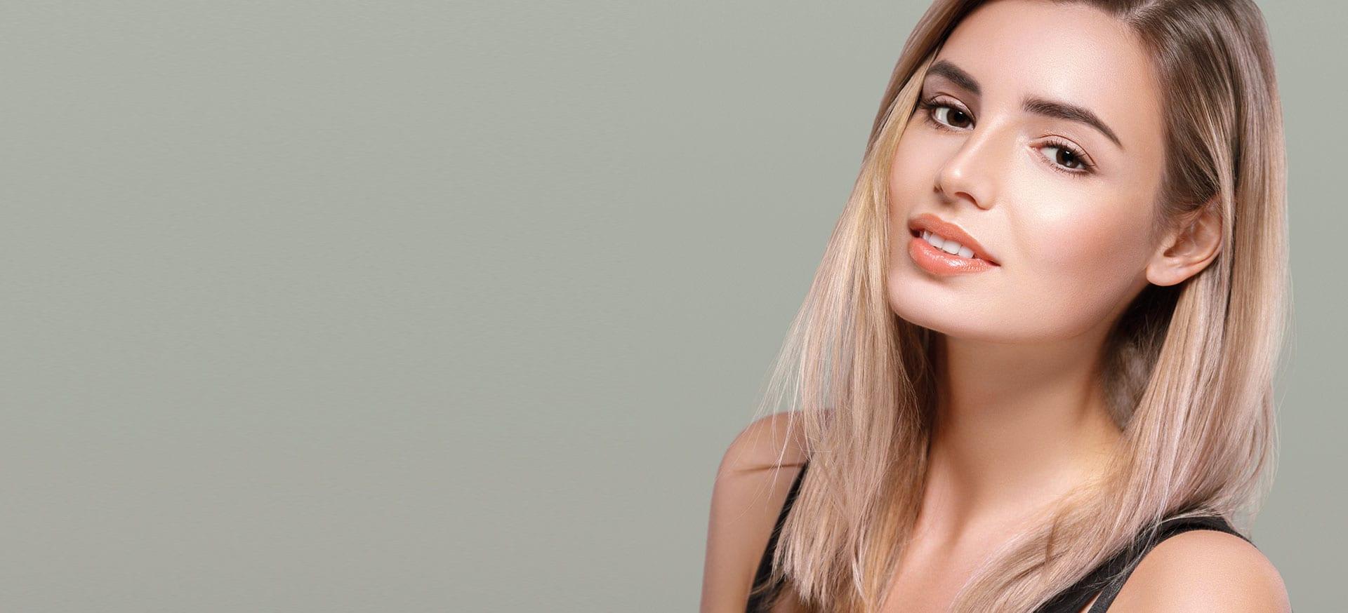 Female model on green background