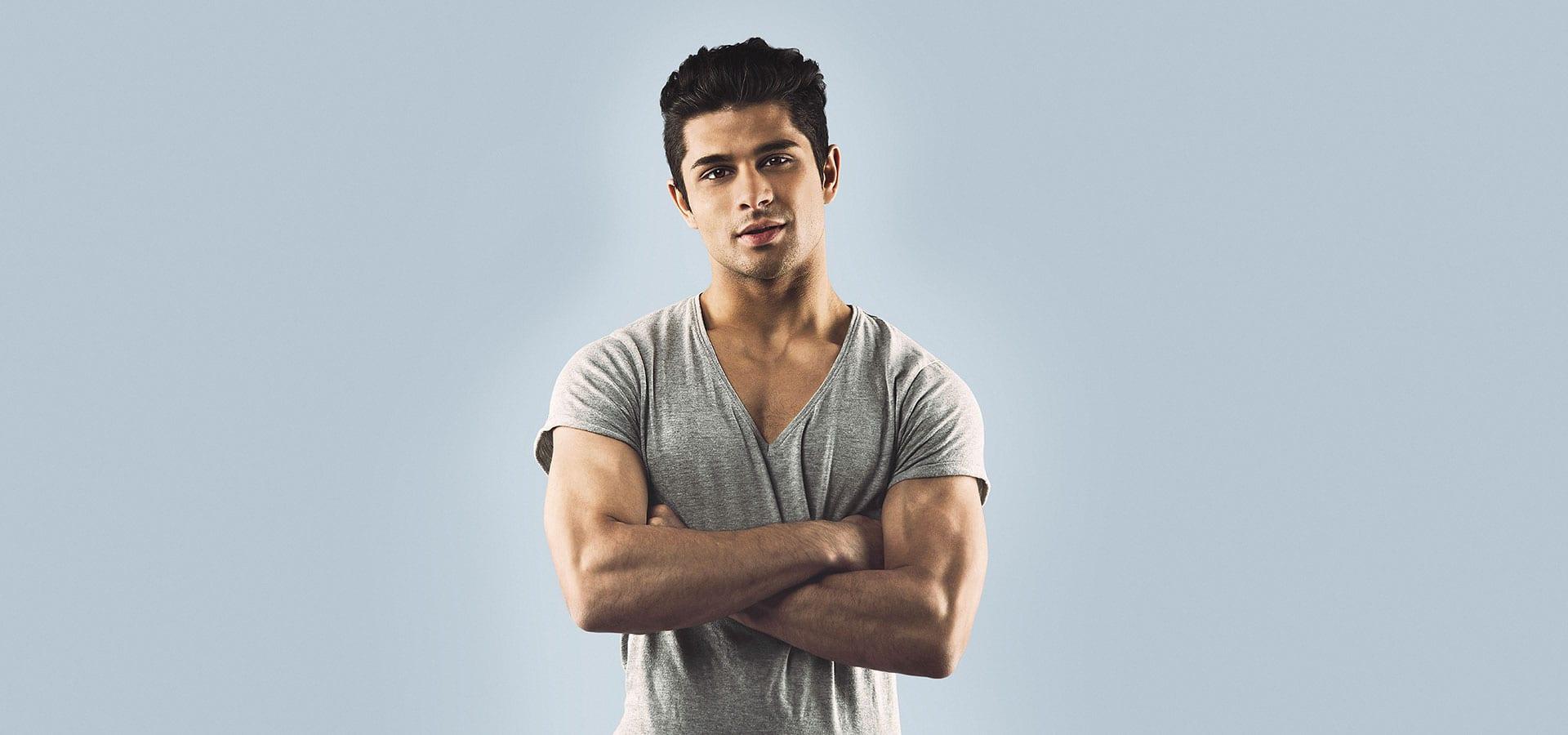 Male model on blue background