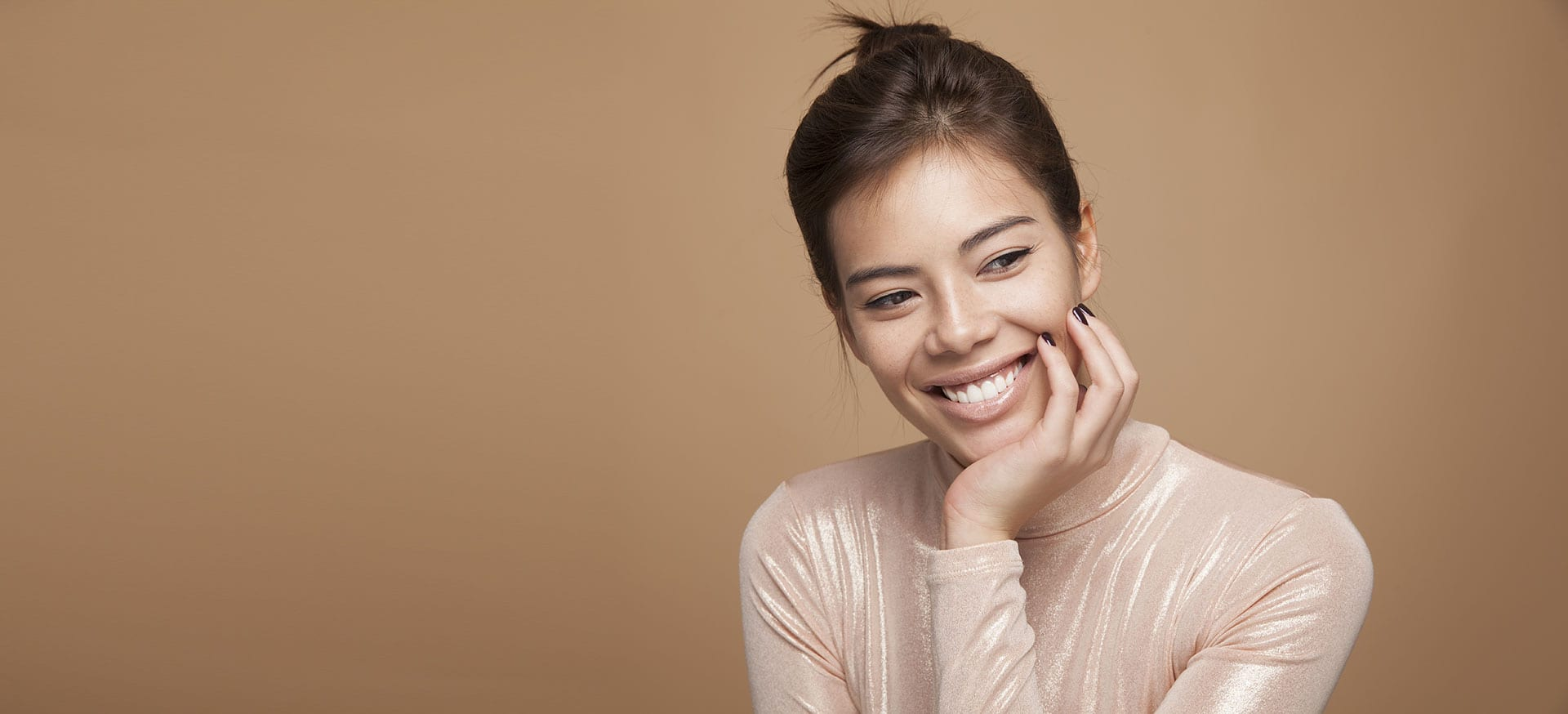 Female model on brown background