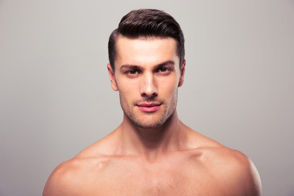 Hair free male skincare model